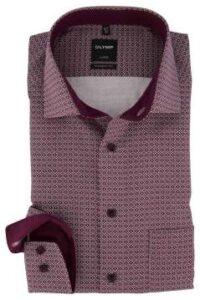 olymp-modern-fit-overhemd-bordeaux-pattroon